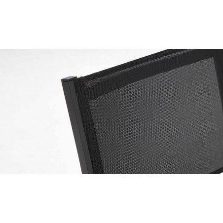 Zoom dossier chaise de jardin empilable alu gris foncé