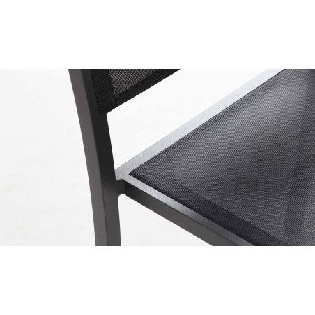 Zoom assise chaise de jardin empilable alu gris foncé
