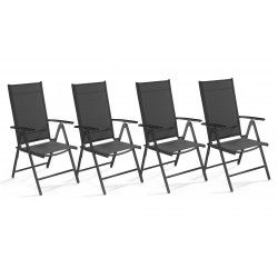 Lot de 4 fauteuils de jardin multi-positions