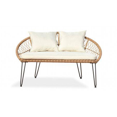 Canapé d'extérieur 2 places en rotin synthétique avec coussins blancs | BORA BORA