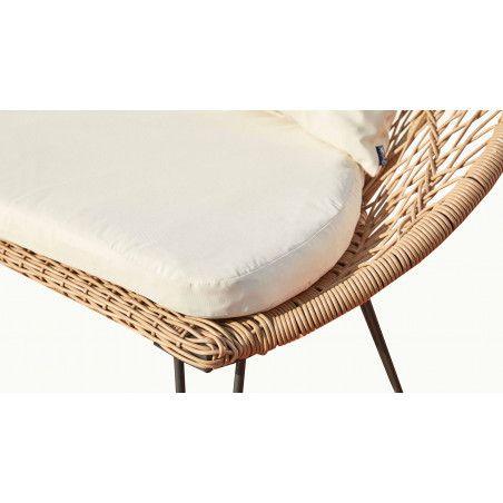 Canapé de jardin 2 places en rotin synthétique zoom coussin blanc