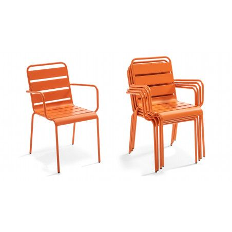 Chaise de jardin orange en métal empilable | PALAVAS