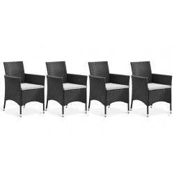 Lot de 4 fauteuils de jardin en résine tressée avec coussins blancs