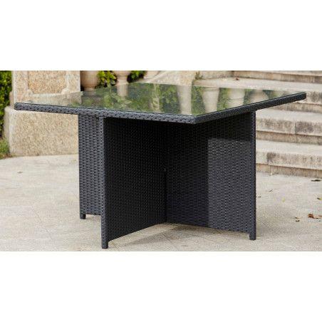 Table de jardin carrée en résine et verre | BIARRITZ