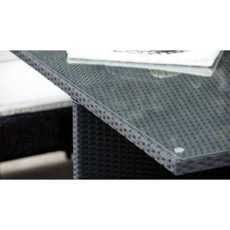 Zoom plateau verre Table de jardin carrée en résine et verre | BIARRITZ