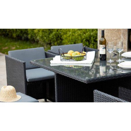 Table de jardin carrée en verre trempé et résine tressée