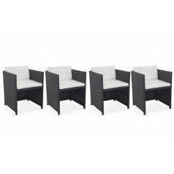 Lot de 4 fauteuils de jardin en résine tressée avec coussins blancs | BIARRITZ