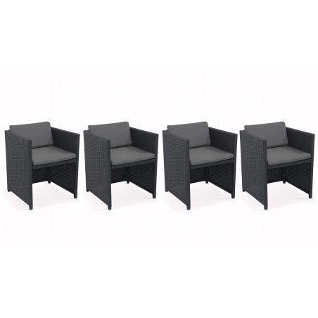 Lot de 4 fauteuils de jardin en résine tressée avec coussins gris | BIARRITZ