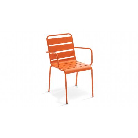 Chaise de jardin orange empilable en acier thermolaqué PALAVAS