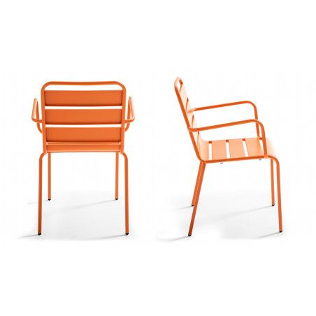 Chaise de jardin orange en métal