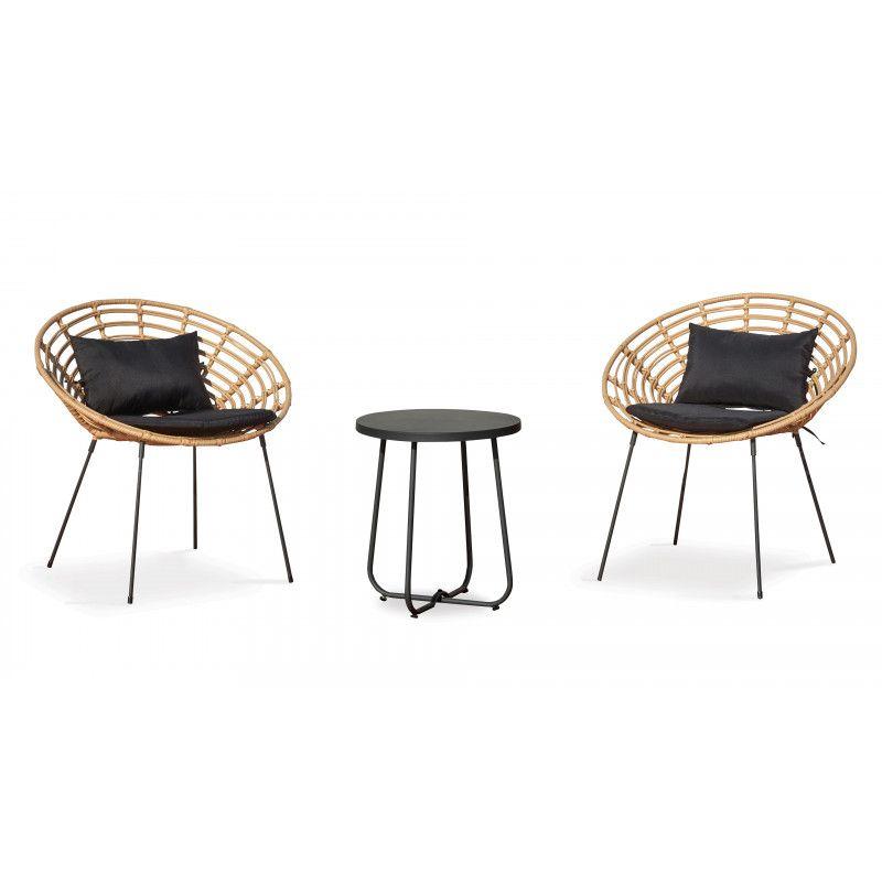 Lot de 2 fauteuils en rotin et 1 table basse ronde