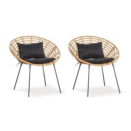 Lot de 2 fauteuils imitation rotin