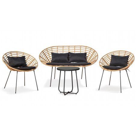 Canapé en rotin avec 2 fauteuils et 1 table basse