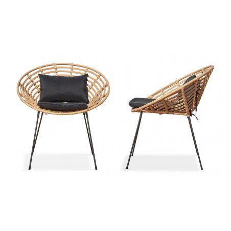 Lot de 2 fauteuils imitation rotin design