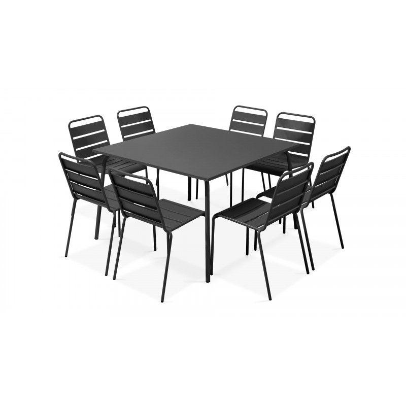 Table carrée intérieure et 8 chaises gris anthracite