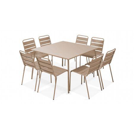 Table carrée intérieure et 8 chaises beige