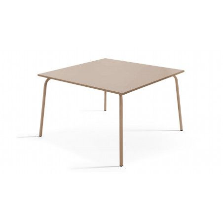 Table carrée en métal beige