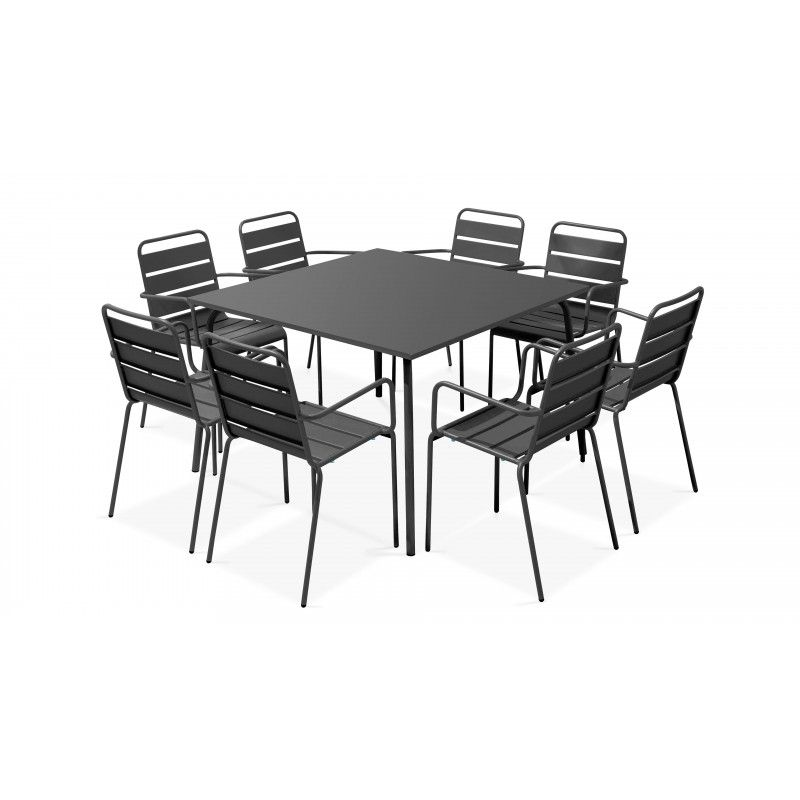 Table carrée intérieure et 8 fauteuils gris