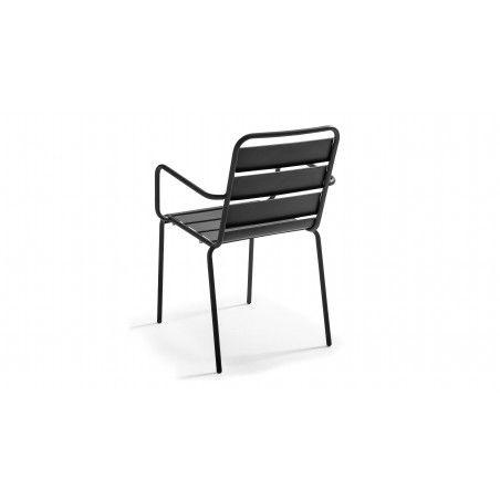 Chaise métal grise avec accoudoirs