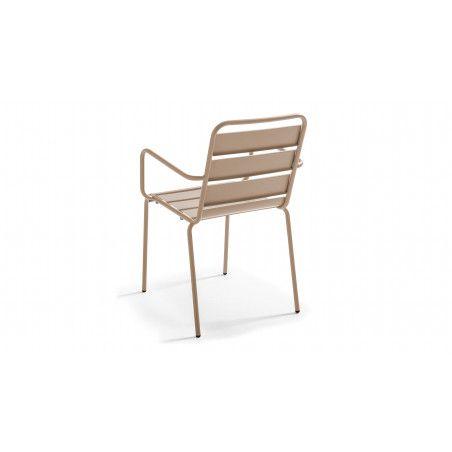 Chaise métal beige avec accoudoirs