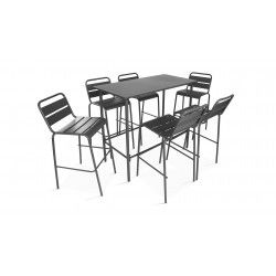 Table haute intérieure et 6 tabourets