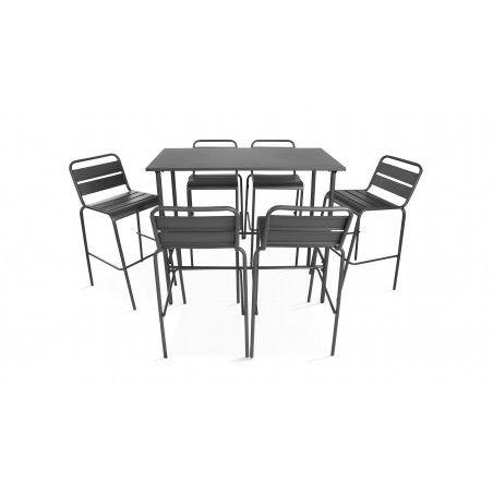 Table bar intérieur avec 6 tabourets en métal