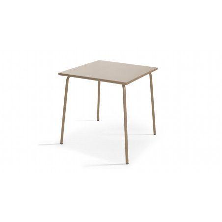 Table carrée métal beige