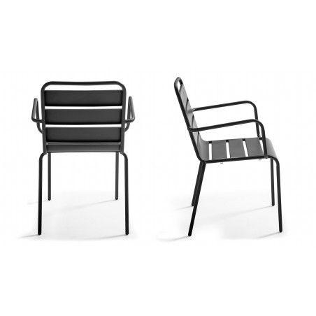 Chaise accoudoirs en métal gris