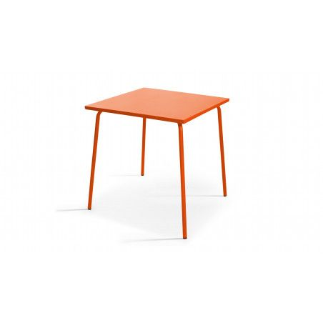 Table de jardin carrée orange en acier thermolaqué PALAVAS