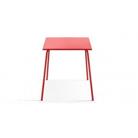 Table de jardin rouge en metal carrée 70cm PALAVAS