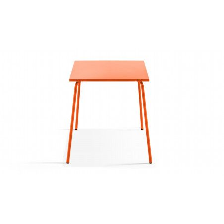 Table de jardin orange en metal carrée 70cm PALAVAS