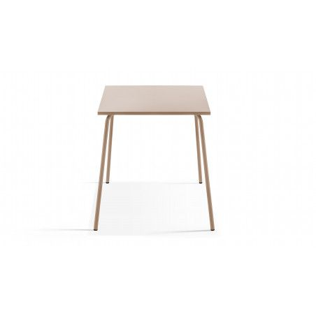 Table de jardin beige en metal carrée 70cm PALAVAS
