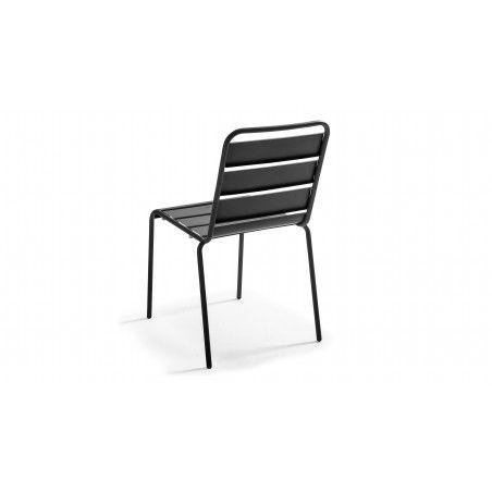 Chaise métal gris indus