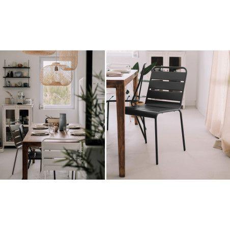 Chaise grise design en métal salle à manger