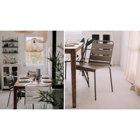 Chaise beige design en métal salle à manger