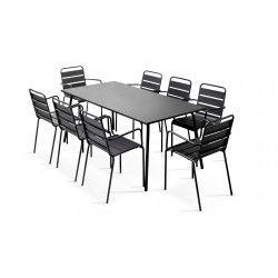 Table rectangulaire intérieure 8 personnes et 8 fauteuils gris