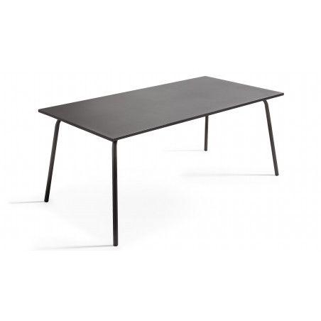 Grande table grise en métal salle à manger