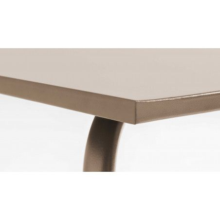 Table rectangulaire beige 8 personnes en métal