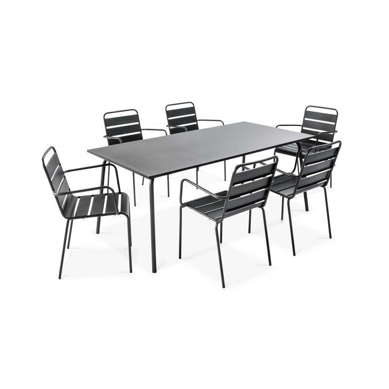 Ensemble table rectangulaire et 6 fauteuils Palavas