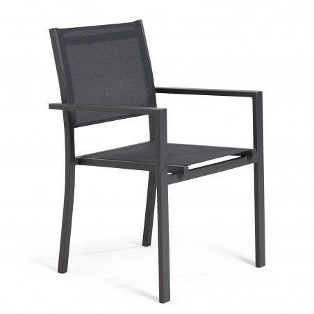 Chaise de jardin noire avec accoudoirs
