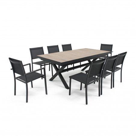 Table de jardin plateau céramique bois extensible