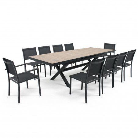 Table de jardin plateau bois pieds croisés
