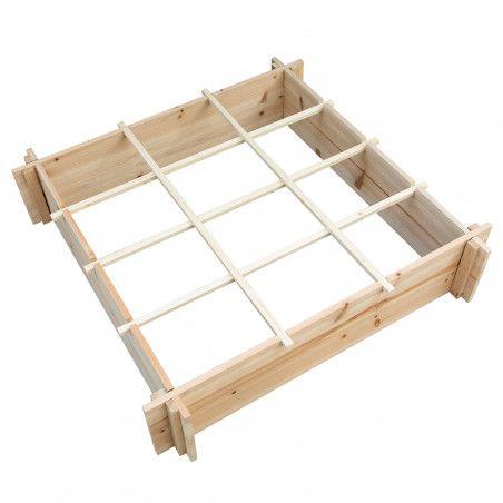 Grand carré potagé divisé en bois