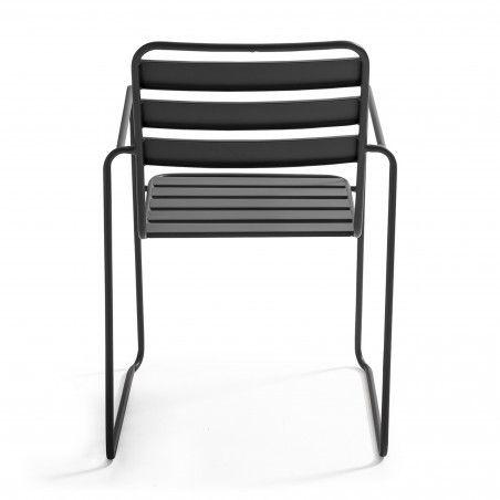 Chaise de jardin en métal avec accoudoirs GRISE