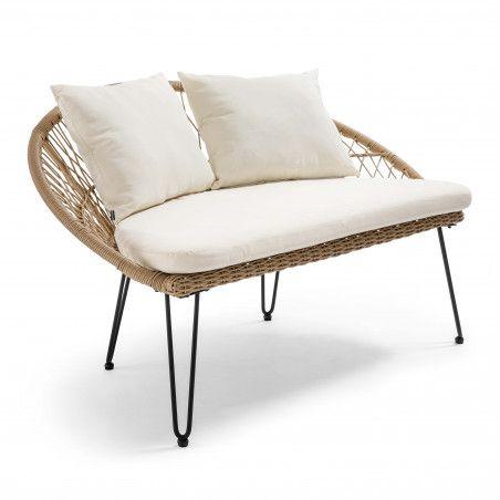 Canapé de jardin 2 places en rotin synthétique avec coussins blancs | BORA BORA