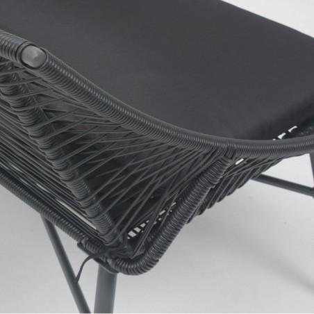 Canapé de jardin imitation rotin noir