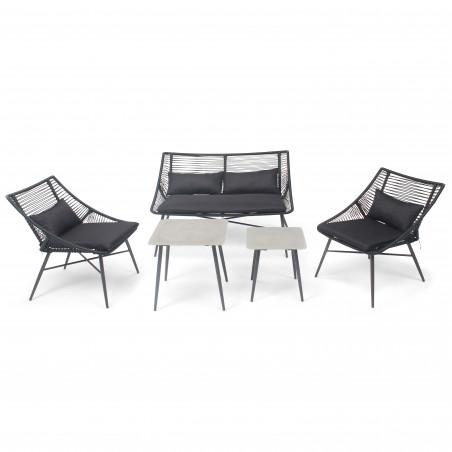 Canapé extérieur avec coussins noir