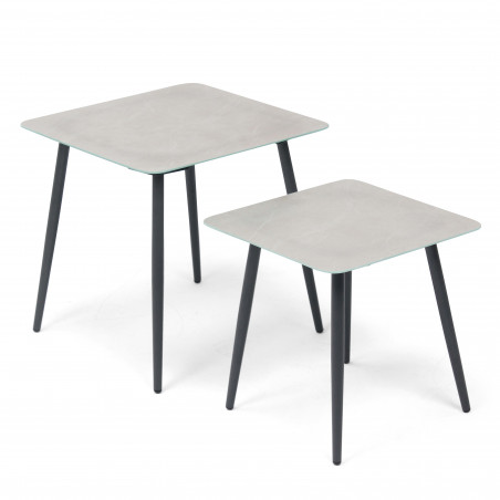 Grande table salon de jardin gris et noir