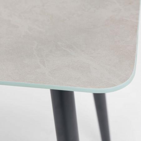 Zoom table basse plateau gris effet marbre