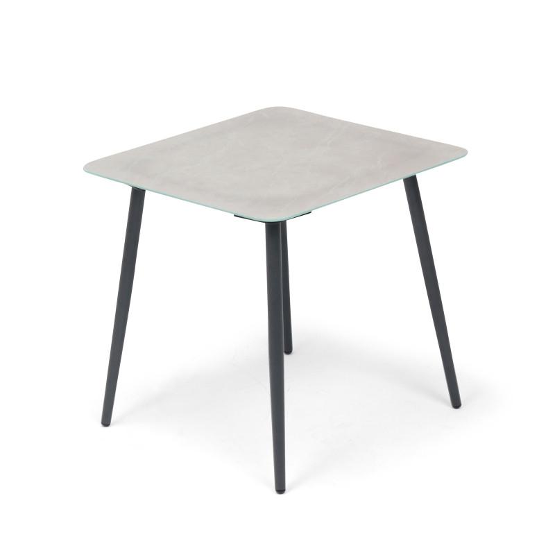 Table d'appoint grise et noire salon de jardin